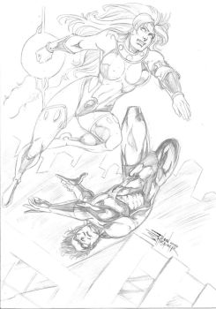 Starfire and Nightwing by JeanSinclairArts