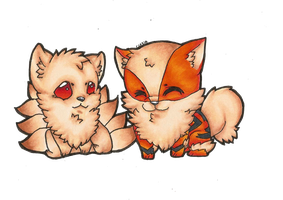 Arcanine and Ninetails by czaria