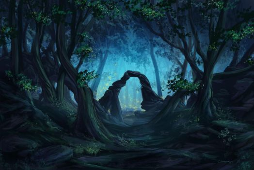 The blue forest by CassiopeiaArt