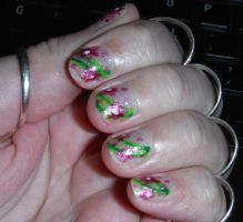 Pink flower nails 4 by Amazinadrielle