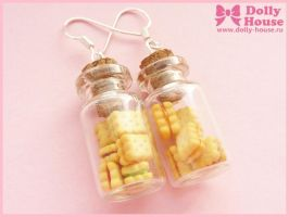 Kawaii Cookies ia a jar Earrings by Dolly House by SweetDollyHouse