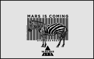 BARCODE ZEBRA MARS IS COMING EDIT WALLPAPER B/W by lovelives4ever