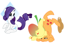 ouch AJ and Rarity  by TwitterShy
