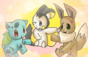 Emolga, Eevee, and Bulbasaur by Chibixi