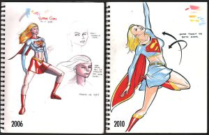 Then and Now - Supergirl by wannabegeorge