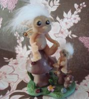 polymer clay pixie  friend by crazylittlecritters