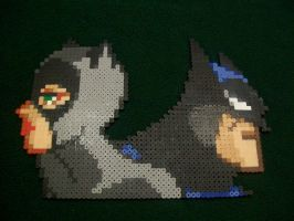 Catwoman and Batman Perler by yumeleona23
