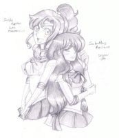 Sailor Jupiter and Sailor Mars by SHINOKAZI09