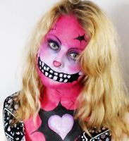 Pink Zombie Makeup by Blueberrystarbubbles