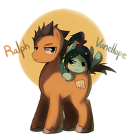 Wreck-It Ralph : Ralph and Vanellope pony by Marenlicious