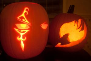 Fairy Tail Jack-o-Lanterns by Halle-Dean
