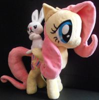 Fluttershy and Angel Custom Plush by Sophillia