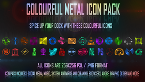 Colourful metal icon pack by spiraloso