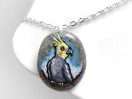 Cockatiel Pendant Necklace by sobeyondthis
