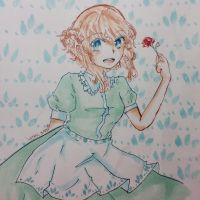 Red rose, green dress, blue eyes by Chiptzel