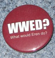 'What would Eren do?' button by BlackUnicornWood