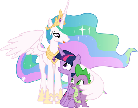 Celestia comforting Twilight and Spike by CloudyGlow
