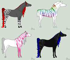 Stripe Horse adopts by JourneytoRevenge