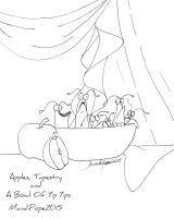 Apples, Tapestry and a Bowl of Yip Yips Lineart by MandiPope
