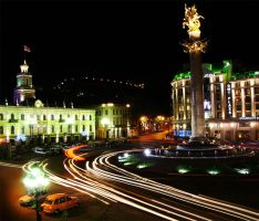 Night Tbilisi Freedom Squere by m2project