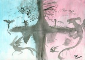 studying watercolor. 5 -  The worlds. by RitadeCassia