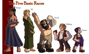 ADandD Tribute - 5 Basic Races by OttoArantes