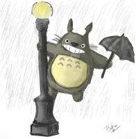 Totoro in the Rain by Bahamut-Eternal