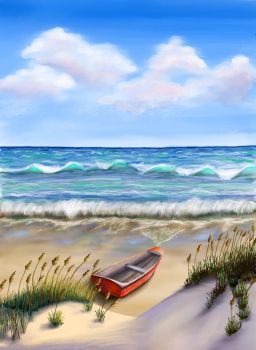 Boat on Beach by MagicAlly25