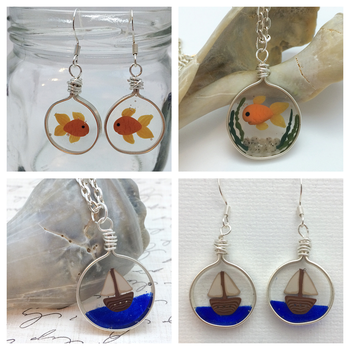 Fishbowl and Sailboat Jewelry Sets by noellewis