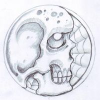 Skull and spiderweb sketch by vikingtattoo