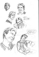 Han Solo sketches by tedwoodsart