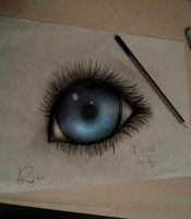 Realistic traditional-digital eye by Kireya