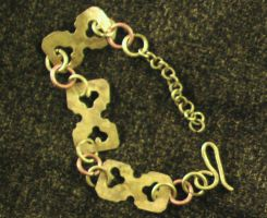 Club-shaped Yellow Copper Bracelet by Barah-Art