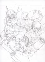 Arcee, Prowl and Wheeljack by OmegaGlitch603