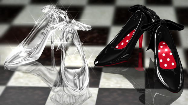 Glass shoes and ribbon high heels-Natsuka dl by MikuPirate