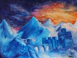 Skyhold - watercolor painting by ellieshep