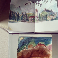 My niece and I drawing in Avigliana by Dedasaur