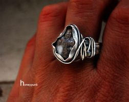 Ring with stavrolite by honeypunk
