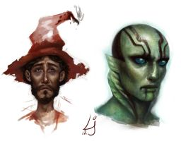 Rincewind and Abe by kedemel