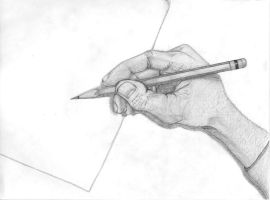 hand holding pencil by InfinitysEnd