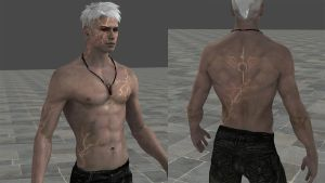 Dante shirtless in devil trigger mode by Evymonster9406