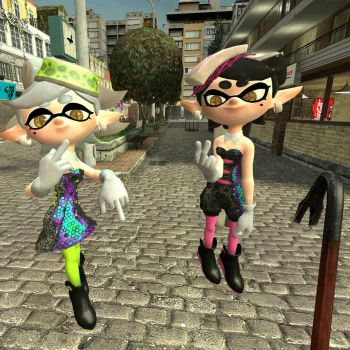 Squid sisters Giving the finger by Ayylmao-505