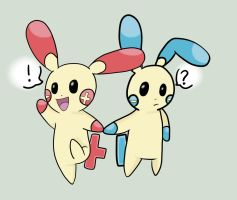 Plusle and Minun by agalakachikaboum