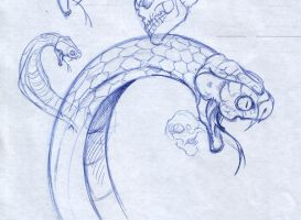 Snake head sketch by SaintYak