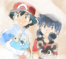 Pokemon XY - Froakie and Litleo by SkyDrew