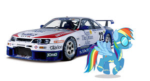 Rainbow Dash and her LM R33 GT-R by nestordc