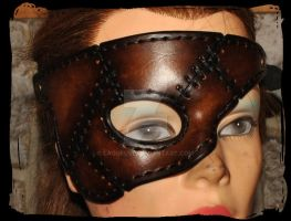leather half mask patchwork by Lagueuse