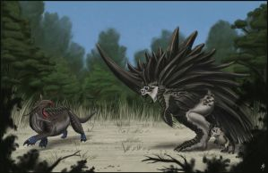 Megacerasornis vs. Blue-footed Tetradon by rpowell77