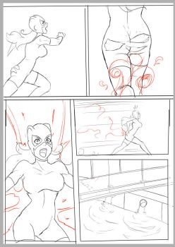 Catwoman vs Harley pg 17 (sketch) by gr8whitehyp3