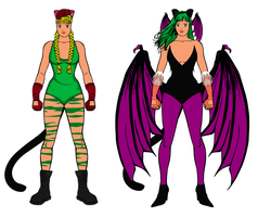 Cammy and Morrigan... by AngelGhidorah